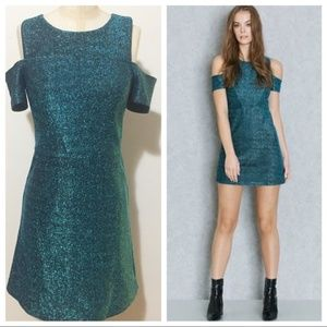 Topshop Metallic Cold Shoulder Dress